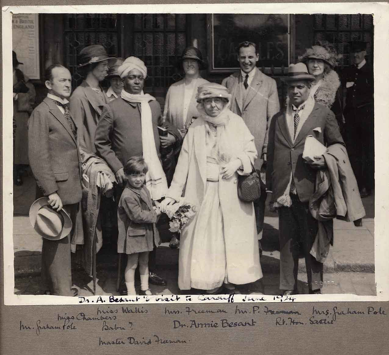 Theosophy Cardiff, Wales, UK:- History of Theosophy in Wales. Annie Besant  Visits Cardiff 1924