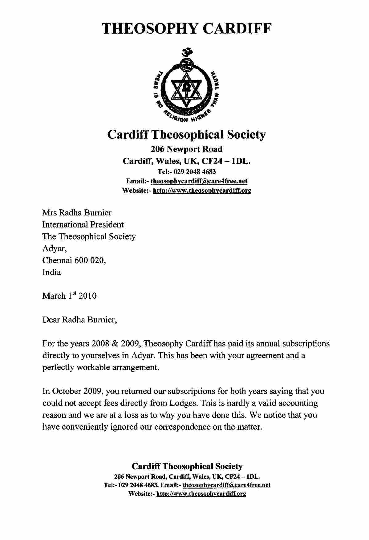 Theosophy Cardiff Wales Uk Letter Of Resignation From